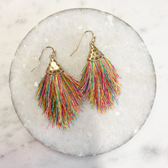 Carina Capped Tassel Earrings - Multi