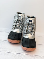 Lace Up Boots by Simply Southern - Silver Glitter