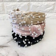Knotted Pearl Headbands - Choice of Color