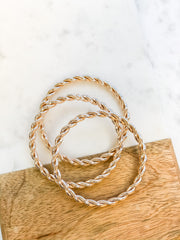 Braided Bangle Set - Rose Gold
