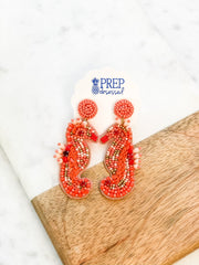Seahorse Beaded Dangle Earrings - Coral
