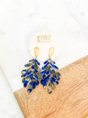 Delilah Palm Acrylic Dangles - Navy