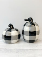 Small Black & White Buffalo Check Ceramic Pumpkin - Choice of Style