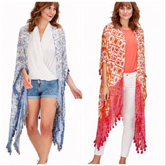 Young and Free Lightweight Tassel Kimono - Choice of Color