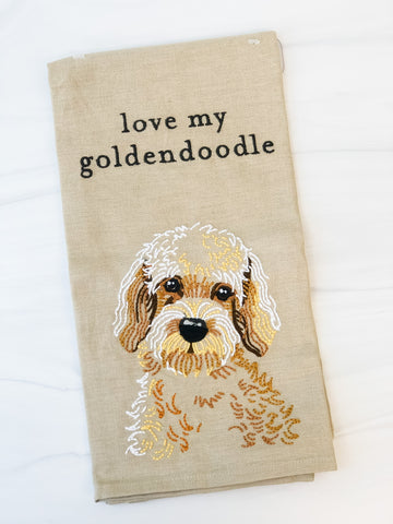 """Love My Goldendoodle"" Dog Dish Towel"