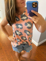 Ryan Leopard Print Sleeveless Tank - Blush