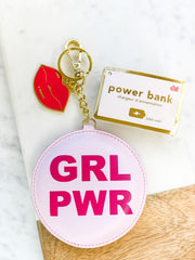 'GRL PWR' Power Bank Phone Charger Keychain