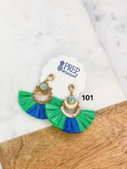 $5 Final Sale Jewelry Blowout! - Lorelei Raffia Fan Earrings - Green