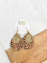 Beverly Leopard Print Glitter Dangle Earrings