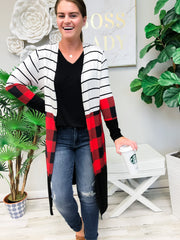Striped and Plaid Open Front Cardigan - Red/Black