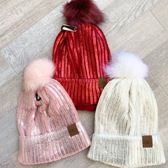 Metallic Pom Pom Beanie by Simply Southern - Choice of Color