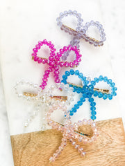 Faceted Jewels Bow Hair Clip - Choice of Color