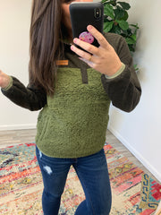 Fleece Pullover by Simply Southern - Olive/Brown