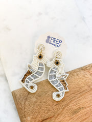 Seahorse Beaded Dangle Earrings - Neutral