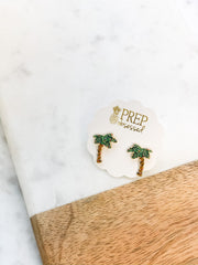 Holiday Palm Tree Signature Enamel Studs by Prep Obsessed