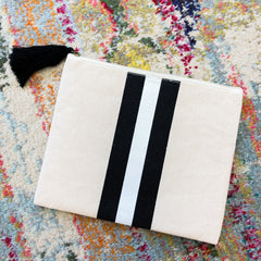 Boca Stripe Canvas Cosmetic Bag - Black