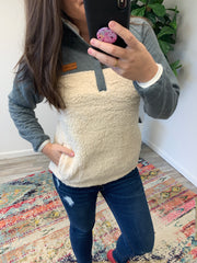 Fleece Pullover by Simply Southern - Cream/Gray