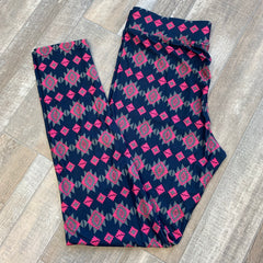 Printed Leggings by SS - Navy Aztec