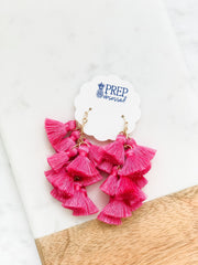 Veronica Multi Tassel Dangle Earrings - Fuchsia