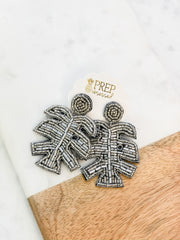 Metallic Beaded Palm Leaf Statement Earrings - Silver