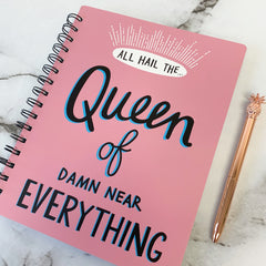 'All Hail the Queen of Damn Near Everything' Spiral Notebook by PBK