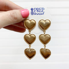 Triple Heart Dangles - Gold