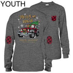 Youth 'Merry & Bright' Holiday Jeep Long Sleeve Tee by Simply Southern