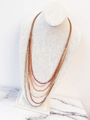 Multi Layered Glass Bead Long Necklace