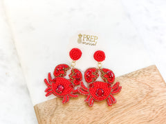 Crab Beaded Dangle Earrings