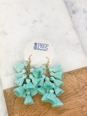 Veronica Multi Tassel Dangle Earrings - Mint