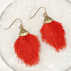 Carina Capped Tassel Earrings - Red