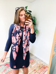 Dancing Flamingos Print Square Scarf - Choice of Color