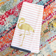 Golden Flamingo Printed Dish Towel