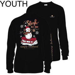 Youth 'Sleigh All Day' Snowman Long Sleeve Tee by Simply Southern