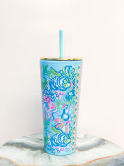 Acrylic Tumbler with Straw by Lilly Pulitzer - Aqua La Vista