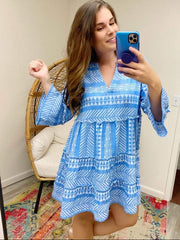 Blue Renee Yarn Dye Dress by Mud Pie