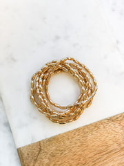 Shiny Gold Beaded Stretch Bracelet