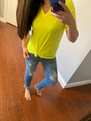 PrepO's Favorite Jersey V-Neck Tee - Neon Yellow (Ships in 1-2 Weeks)