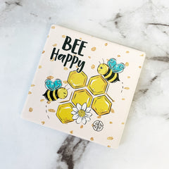 'Bee Happy' Square Coaster by Simply Southern
