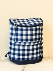 Navy Checkered Backpack Cooler