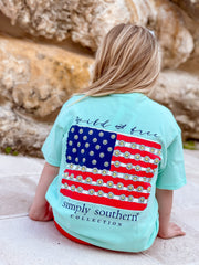 Youth 'Wild & Free' Daisy Flag Short Sleeve by Simply Southern
