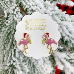 Festive Flamingo Signature Enamel Studs by Prep Obsessed
