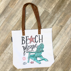 'Beach Please' Canvas Tote by Simply Southern
