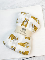 Bulldog Muslin Swaddle Blanket by Mud Pie