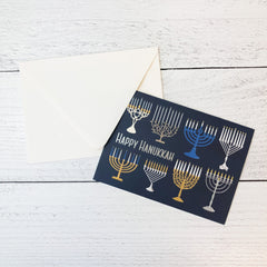 'Happy Hanukkah' Menorahs Greeting Card - Set of 10