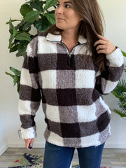 Black & White Buffalo Check Sherpa Quarter Zip Pullover