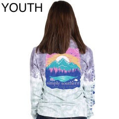 Youth Mountain Scene Tie Dye Long Sleeve Tee by Simply Southern