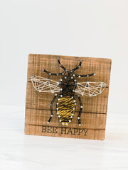 'Bee Happy' String Art Box Sign by PBK