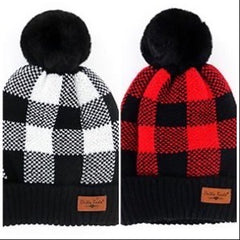 Buffalo Plaid Pom Hats - Choice of Color