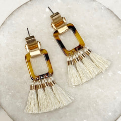 Brene Tortoise Rectangle & Tassel Earrings
